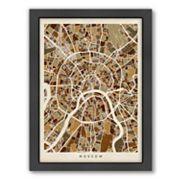 Americanflat Michael Tompsett ''Moscow Street Map'' Framed Wall Art