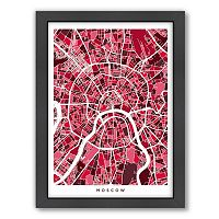 Americanflat Michael Tompsett ''Moscow Street Map'' Framed Wall Art