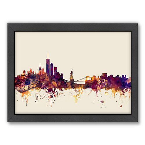 Americanflat Michael Tompsett ''New York Skyline'' White Background Framed Wall Art