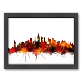 Americanflat Michael Tompsett ''New York Skyline'' Framed Wall Art