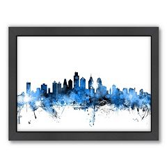 Americanflat Michael Tompsett ''Philadelphia Skyline V'' Framed Wall Art