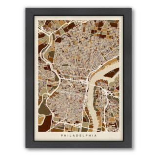 Americanflat Michael Tompsett ''Philadelphia, Pennsylvania Street Map'' Framed Wall Art