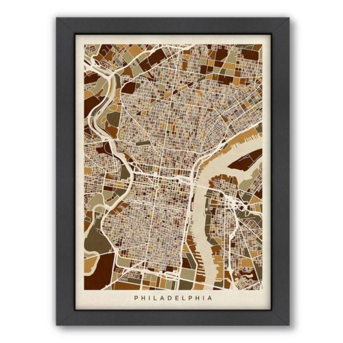 Americanflat Michael Tompsett ''Philadelphia, Pennsylvania Street Map'' Framed Wall Art