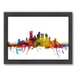 Americanflat Michael Tompsett ''Pittsburgh, Pennsylvania  Skyline'' Framed Wall Art