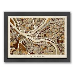 Americanflat Michael Tompsett ''Pittsburgh, Pennsylvania  Street Map'' Framed Wall Art