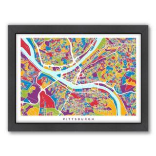 Americanflat Michael Tompsett ''Pittsburgh, Pennsylvania  Street Map'' Framed Wall Art
