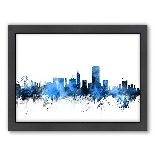 Americanflat Michael Tompsett ''San Francisco Skyline'' 20 x 26 Framed Wall Art