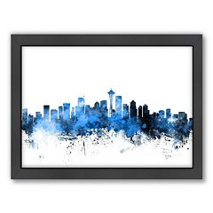 Americanflat Michael Tompsett ''Seattle, Washington Skyline'' Framed Wall Art