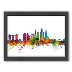 Americanflat Michael Tompsett ''Singapore Skyline'' Framed Wall Art