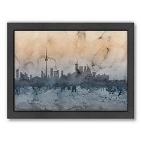 Americanflat Michael Tompsett ''Toronto Skyline'' Watercolor Framed Wall Art