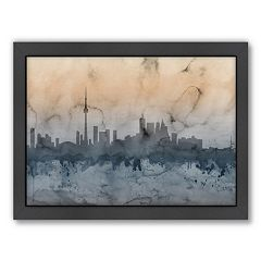 Americanflat Michael Tompsett ''Toronto Skyline'' Watercolor Framed Wall Art