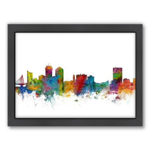Americanflat Michael Tompsett ''Wichita, Kansas Skyline'' Framed Wall Art