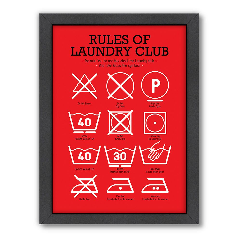 Americanflat Patricia Pino \'\'Rules of Laundry Club\'\' Framed Wall Art