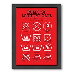 Americanflat Patricia Pino ''Rules of Laundry Club'' Framed Wall Art