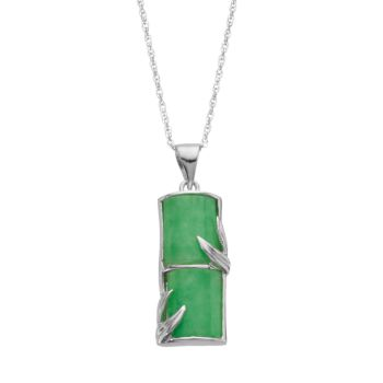 Jadeite Sterling Silver Bamboo Pendant Necklace