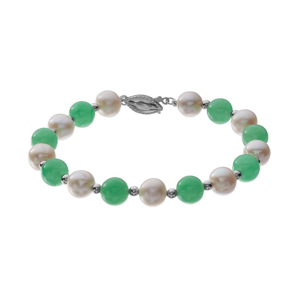 Jadeite & Freshwater Cultured Pearl Sterling Silver Bracelet