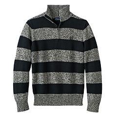 Boys 8-20 Chaps Stripe Twist Mockneck Fleece Pullover