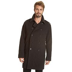 Men's Excelled Double-Breasted Wool-Blend Military Peacoat