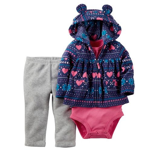 96294ae03 Baby Girl Carter s Heart Full-Zip Hooded Cardigan Set