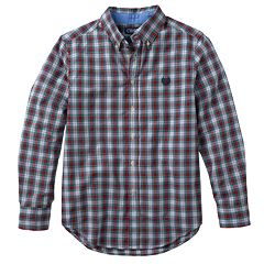 Boys 8-20 Chaps Poplin Plaid Button-Down Shirt