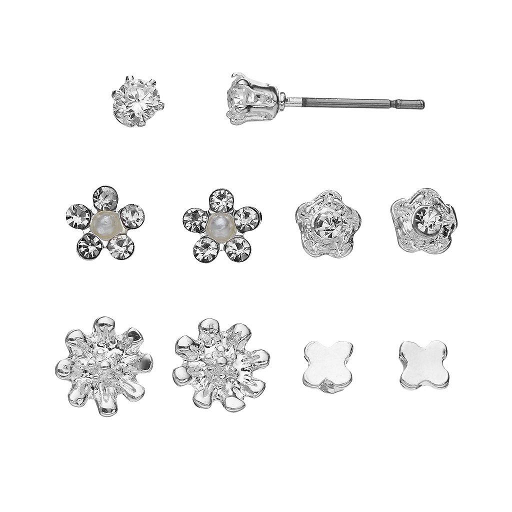 LC Lauren Conrad Flower & Butterfly Stud Earring Set