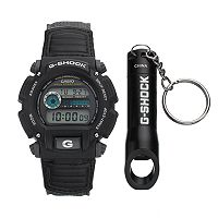 Casio Men's G-Shock Digital Chronograph Watch & Bottle Opener Key Chain Set - DW9052V-1SV