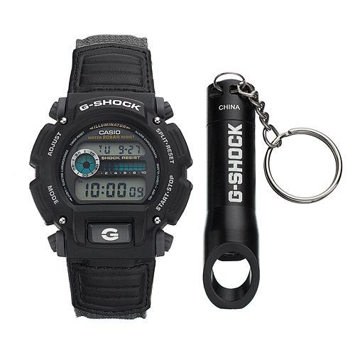 Casio Men's G-Shock Digital Chronograph Watch & Bottle Opener Key Chain Set - DW9052V-1SV