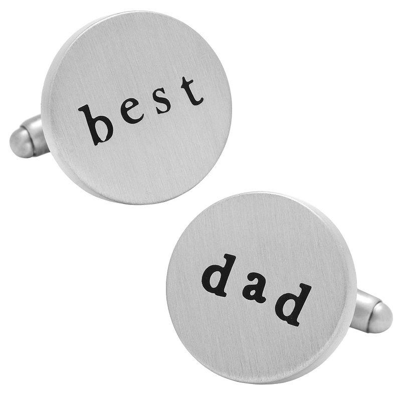 Best Dad Cuff Links, Silver