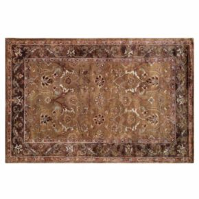 Linon Rosedown Framed Floral Scroll Wool Rug