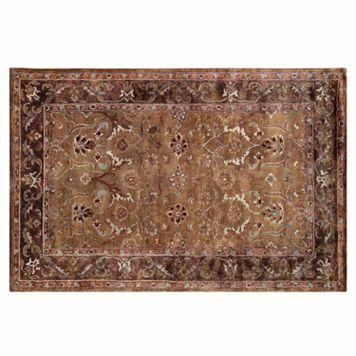 Linon Rosedown Framed Floral Scroll Wool Rug