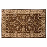 Linon Rosedown Brown Framed Floral Wool Rug