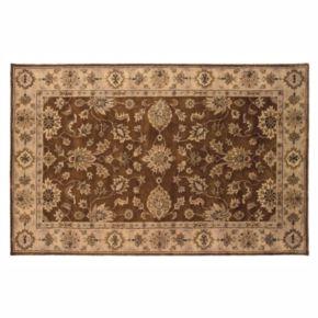 Linon Rosedown Brown Framed Floral Wool Rug