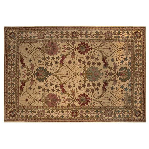 Linon Rosedown Ornate Framed Floral Wool Rug