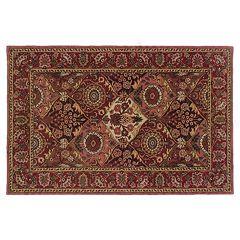 Linon Rosedown Red Framed Floral Wool Rug