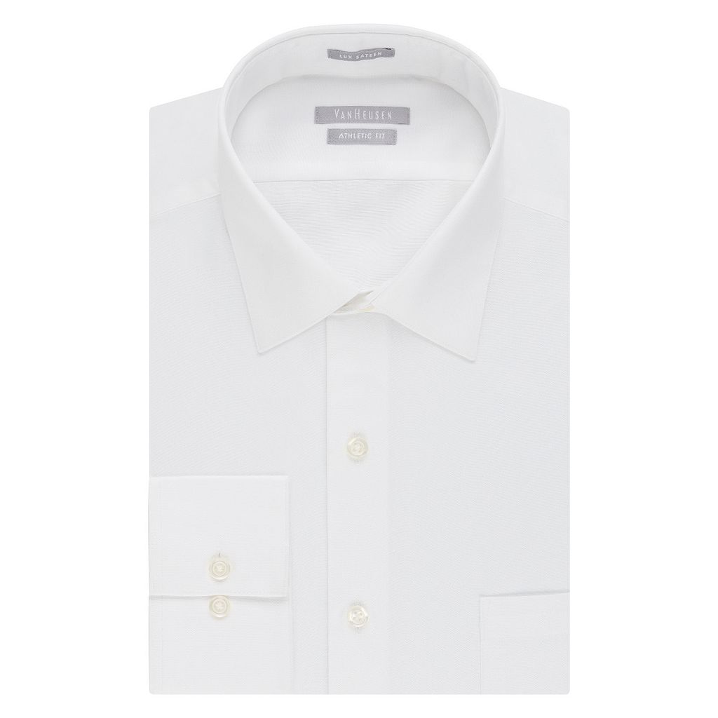Men's Van Heusen Fitted Athletic Solid Lux Sateen No Iron Spread Collar Dress Shirt