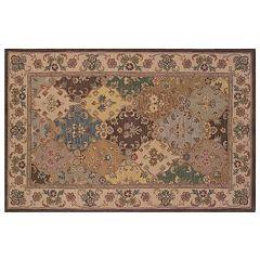 Linon Soumak Framed Floral Wool Rug