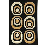 Linon Capri Black Geometric Rug - 4'3'' x 7'3''
