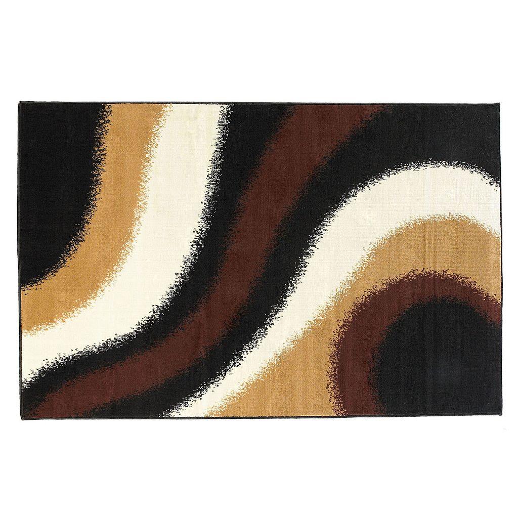 Linon Capri Black Swirl Rug - 4'3'' x 7'3''