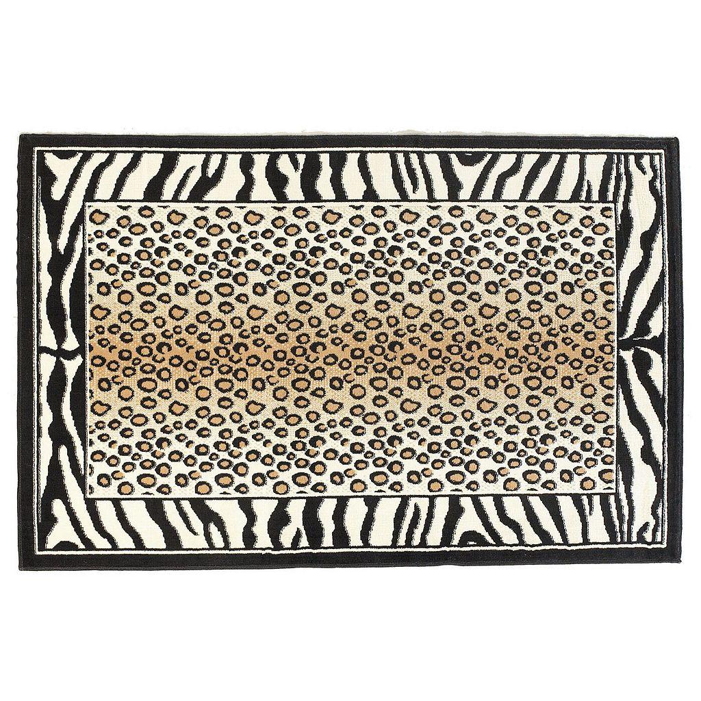Linon Capri Framed Animal Print Rug - 4'3'' x 7'3''