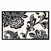 Linon Capri Framed White Floral Rug - 4'3'' x 7'3''