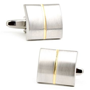 Divided Two Tone Square Cuff Links