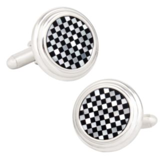 Onyx and Mother of Pearl Checker Step Cuff Links