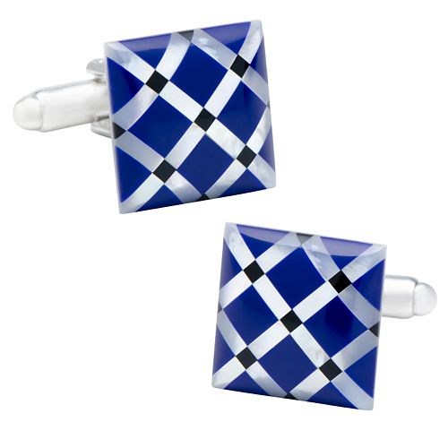 Mother-of-Pearl Diamond Cuff Links