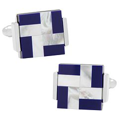 Mother of Pearl  & Lapis Windmill Square Cuff Links