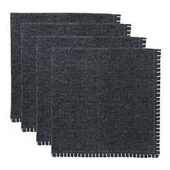 Park B. Smith Woven Chambray Crochet 4 pc Napkin Set