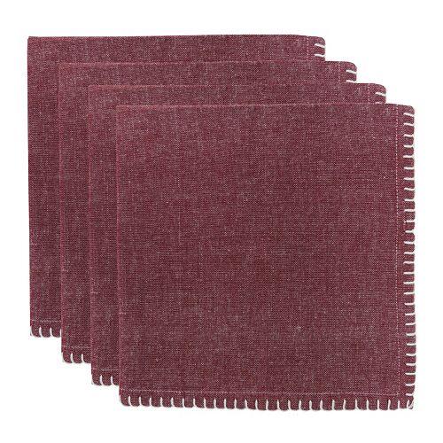 Park B. Smith Woven Chambray Crochet 4-pc. Napkin Set