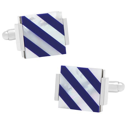 Floating Lapis and Mother of Pearl Striped Cuff Links