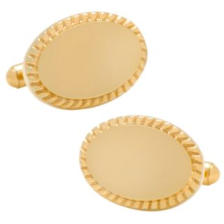14K Gold-Plated Rope-Border Oval Engravable Cuff Links