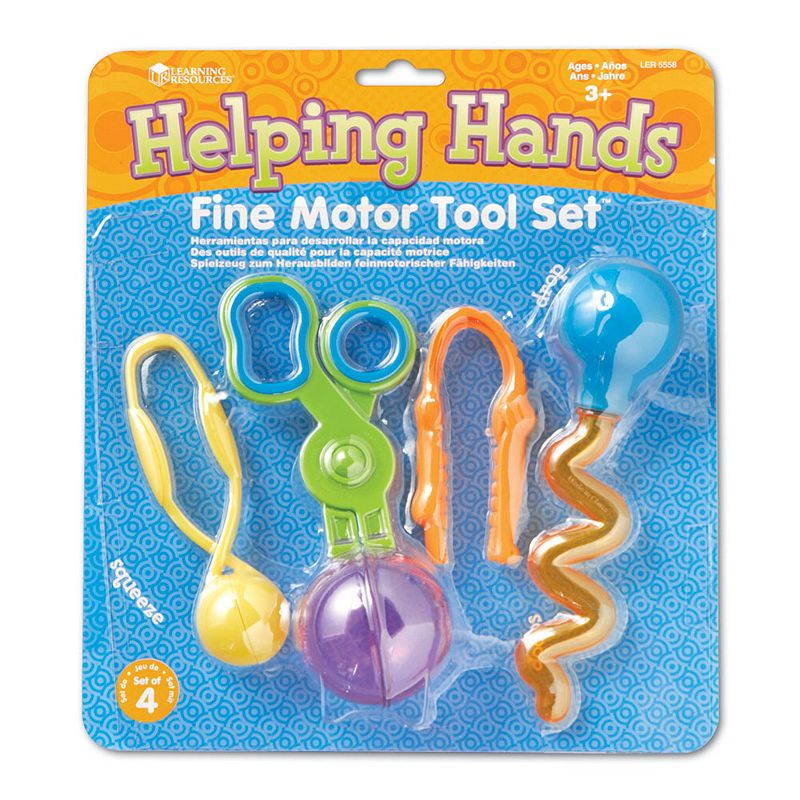 Learning Resources Helping Hands Fine Motor Tool Set, Multicolor This set includes four of Learning Resources' finest trademarked tools packaged together! The Gator Grabber Tweezers, Handy Scoopers, Twisty Droppers, and Squeezy Tweezers tools offer a fun way for your students to strengthen their hand and finger muscles needed for writing as well as other motor skills. 4-tool set Develops fine motor skills What's Included 2 tweezers Scooper Dropper Ages 4 years & up Spot clean Imported Model no. LER5558 Size: One Size. Color: Multicolor. Gender: Unisex. Age Group: Kids.