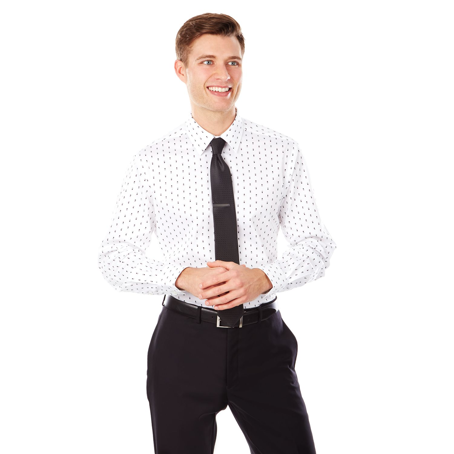 Black dress shirt expandable collar